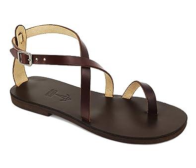 Calpas Handmade Men Women Leather Sandals Ankle Strap Sandals Toe Ring  Sandals Barefoot Summer Flats -