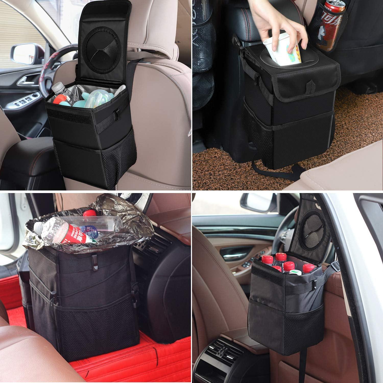 bolsillos de almacenamiento plegable y port/átil para colgar Niaguoji Papelera para coche con tapa