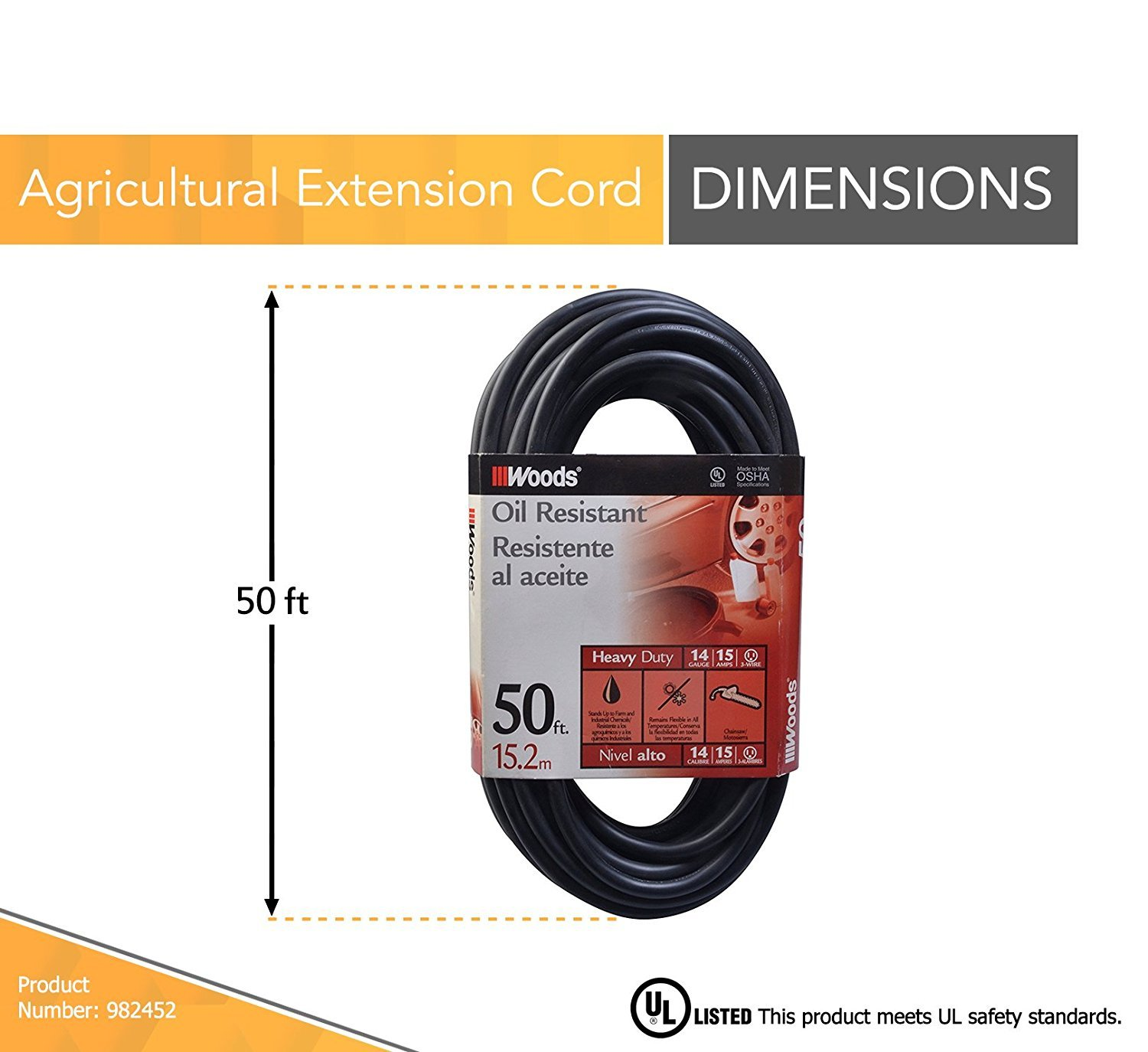 Woods 982452 2 pack 50ft 143 sjtow agri pro extension cord black 143 sjtow agri pro extension cord black amazon publicscrutiny Choice Image