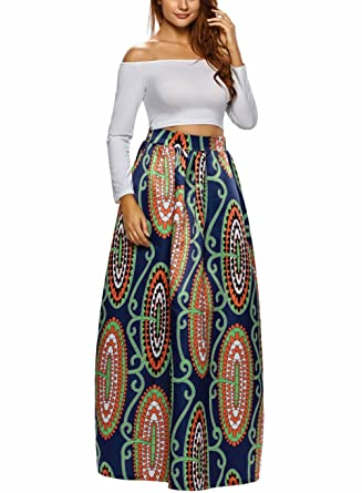 c3c11bcf754 Amazon.com  Afibi Women African Printed Casual Maxi Skirt Flared Skirt  Multisize A Line Skirt (S-3XL)  Clothing