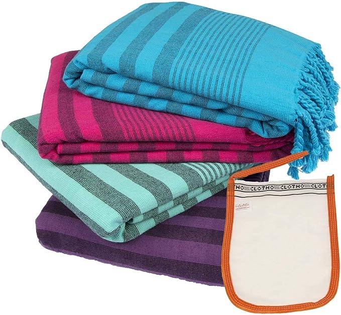 Clotho Towels Turkish Bath And Beach Towel Set Of 4 100 Oversized Terry Peshtemal Kitchen Dining
