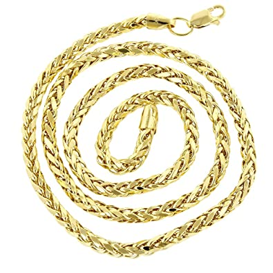 b955c334ad914 Amazon.com: IcedTime 14K Yellow Gold Franco Chain 4mm Wide Diamond ...