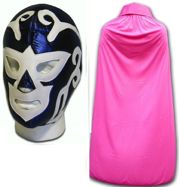 WRESTLING MASKS UK Men's Huracan Ramirez Fancy Dress Luchador Mask With Cape One Size Blue/ Pink