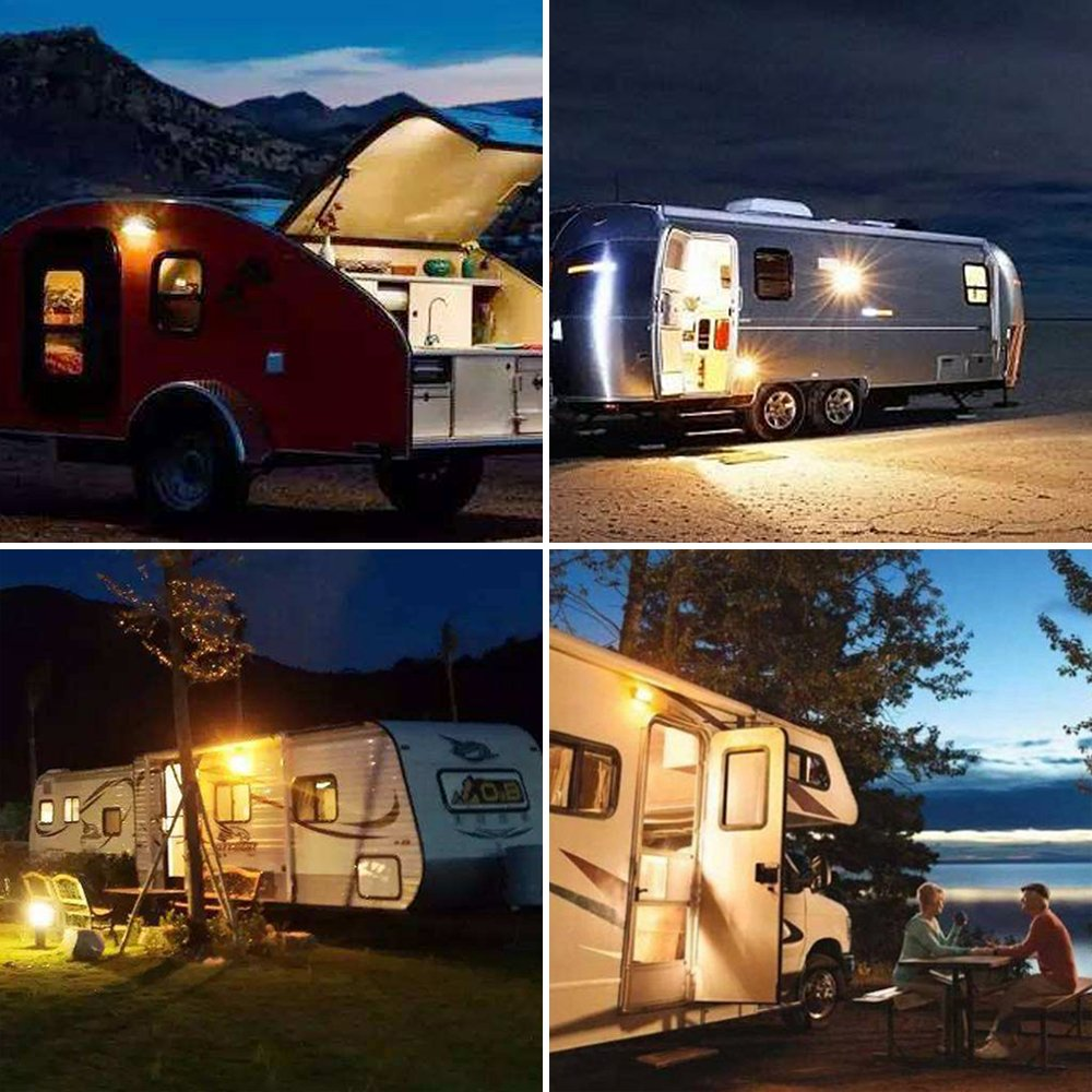Campers Trailers 12v Lighting Fixture Lighting for RVs White Base 5th Wheels Lumitronics LED RV Exterior Porch Utility Light - Mounting Hardware Included Clear and Amber Lenses