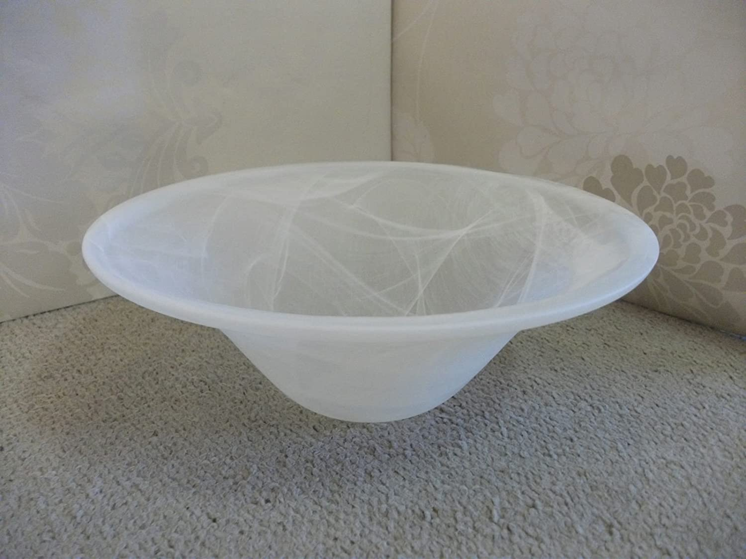 40cm WHITE BOWL Replacement Glass Shade for uplighter lamp or pendant fitting Wisteria
