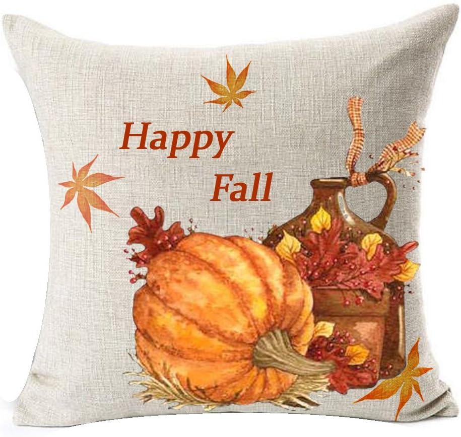 Autumn Pumpkin Foliage Fall Thanksgiving Harvest Throw Pillow Case Cushion Cover