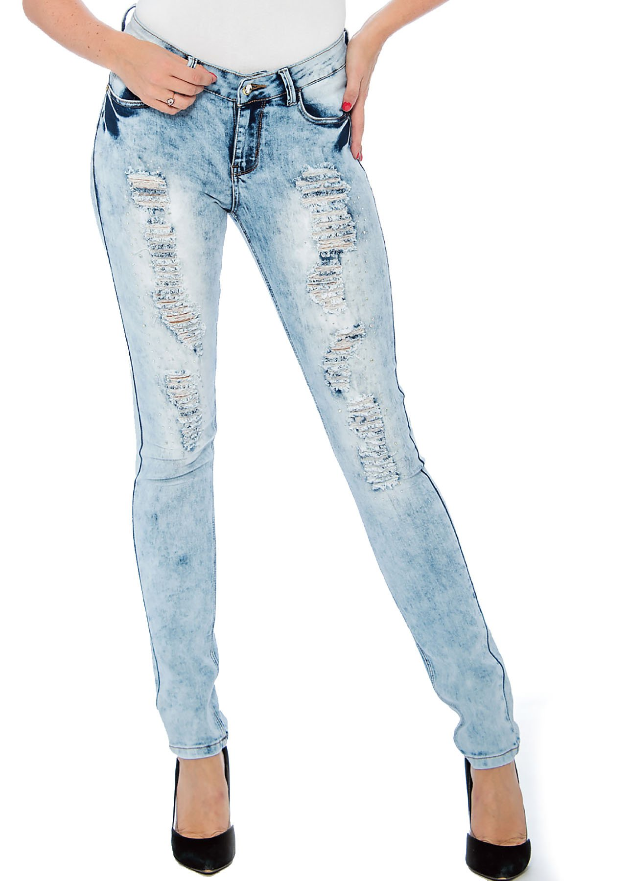 Rebel Love Juniors Mid Rise Distressed Jeans by 9 Crowns-7/8 by 9 Crowns (Image #1)