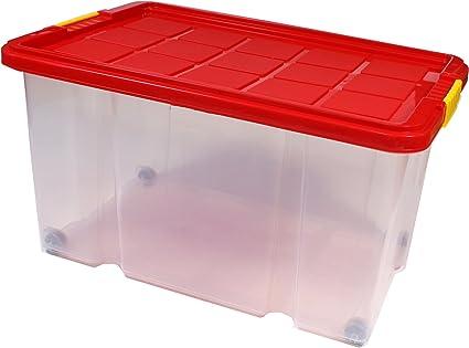 BigDean Euro Caja con tapa 60 x 40 x 30 cmund ruedas ruedas ...