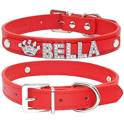 Didog Smooth PU Leather Custom Dog Collars with Rhinestone Personalized Name Letters,Fit Small Medium