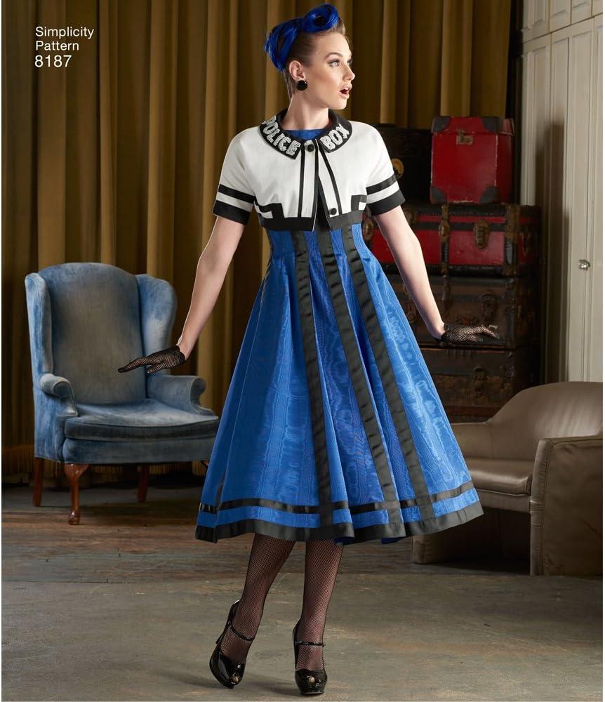 Simplicity Schnittmuster S8876 Damenkleider und Stola aus Papier verschiedene Farben Wei/ß