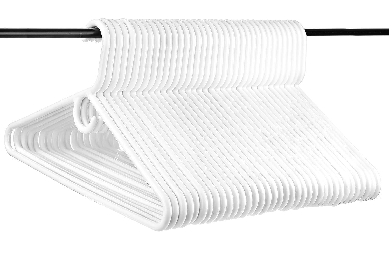 36pk Neaties USA Made Super Heavy Duty White Plastic Hangers