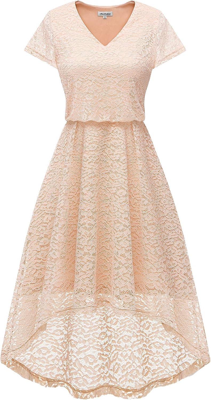 Bbonlinedress Damen Elegant Kleid aus Spitzen Kurzarm Cocktail