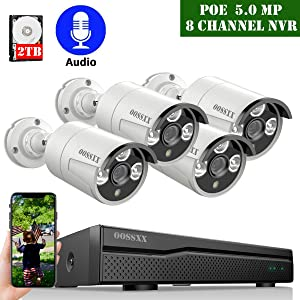 ?2020 Update? POE Security Camera System,OOSSXX 8CH 4K POE System,4pcs 5MP Outdoor Wired POE IP67 Waterproof Cameras with One-Way Audio,2TB Hard Drive pre-Install
