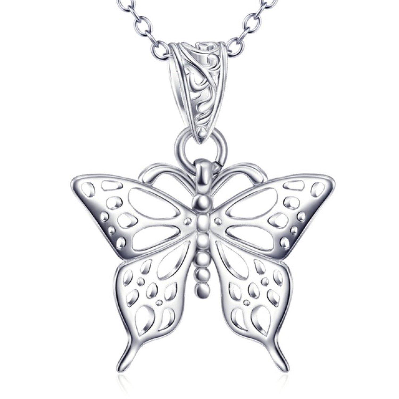 CS-DB Classic Vintage Butterfly Pendants Silver Necklaces