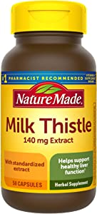 Nature Made Milk Thistle 140 mg Capsules, 50 Count (Packaging May Vary)