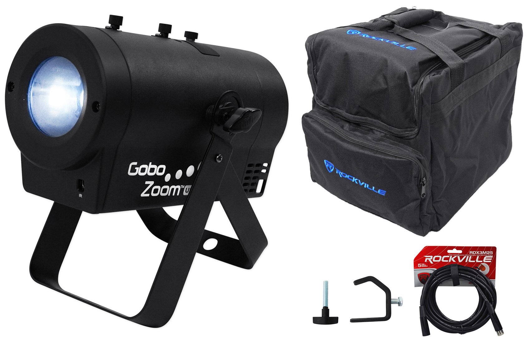 Chauvet DJ Gobo Zoom USB Custom Gobo Projector Light W/10 Gobos+Bag+Clamp+Cable by Chauvet