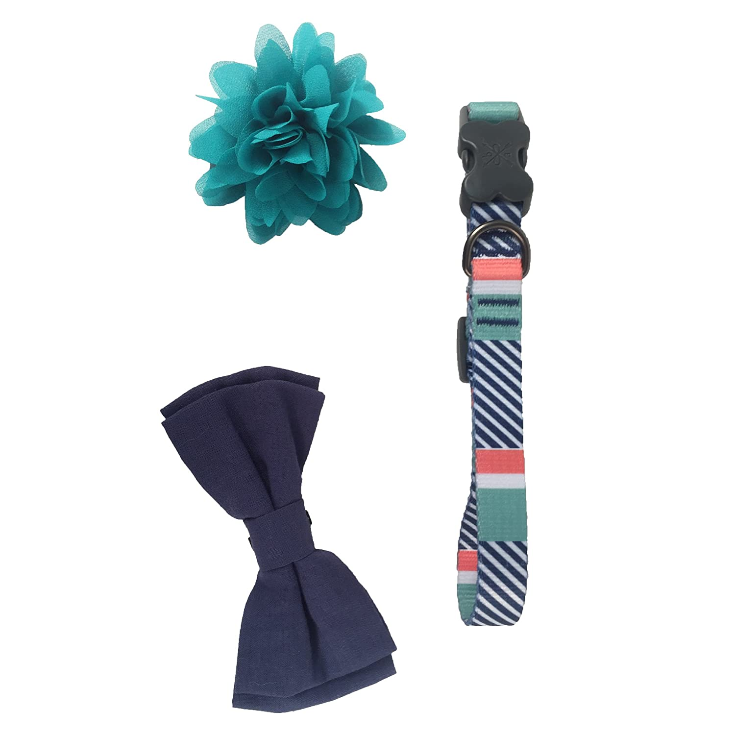 Bow & Arrow Pet Soiree Fancy Dog Collar With 1 Bow Tie Slide and 1 Flower Slide, Medium, Mint