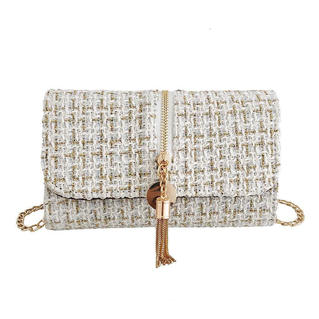 Makeupstory Purses and Handbags,Straw Bag,Women's Fashion Solid Color Square Bag Shoulder Bag Tassel Diagonal Package White by Makeupstory (Image #1)