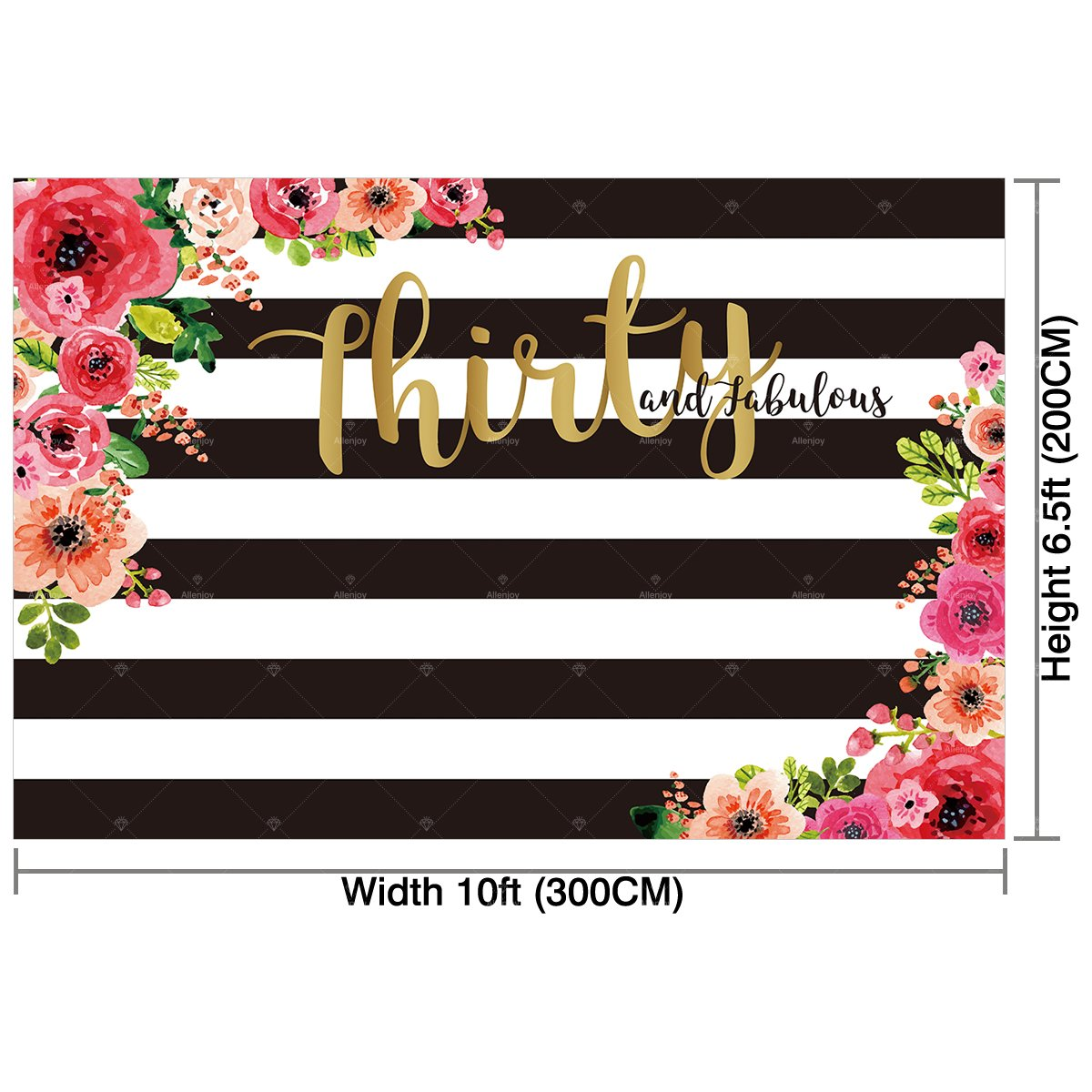 Allenjoy 10x65ft 30th Birthday Party Backdrop For Woman Lady Cake Table Adult Thirty And Fabulous Banner Decoration Black White Stripe Watercolor