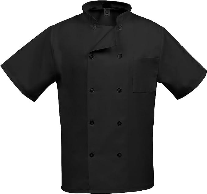Chef Apparel Unisex Short// Long Sleeve Black Chef Jacket coat Visible Button.