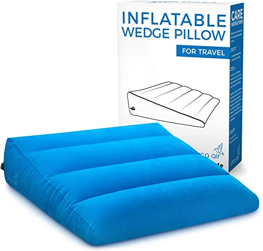 Circa Air Inflatable Wedge Pillow – Large 27 x 27 x 8 (in) Inflatable Bed Wedges for Acid Reflux and Sleeping. Travel Wedge Pillow Inflates/Deflates ...