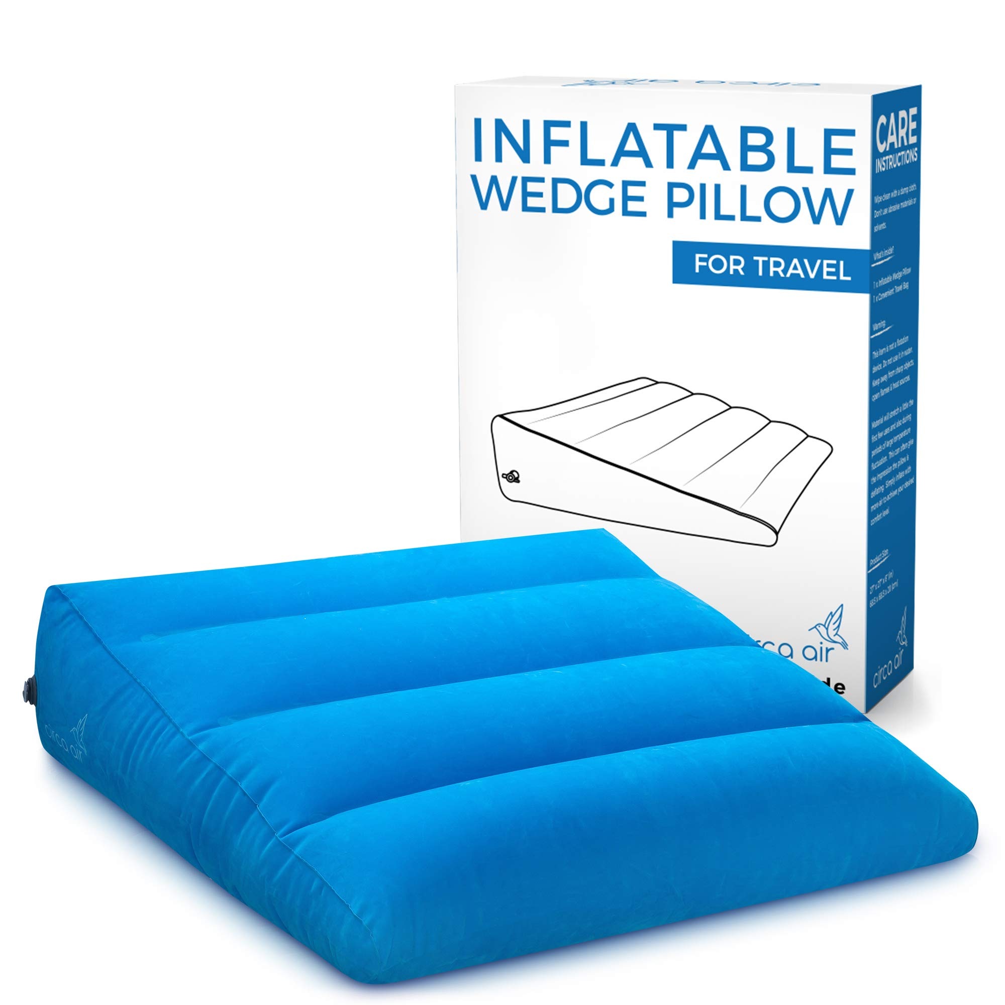 Circa Air Inflatable Wedge Pillow - For Travel, Acid Reflux, Sleeping Support. Travel Bed Wedge Pillow Inflates/Deflates Easily with Quick Valve. Large 27 x 27 x 8 (in) Portable, Lightweight & Compact by Circa Air