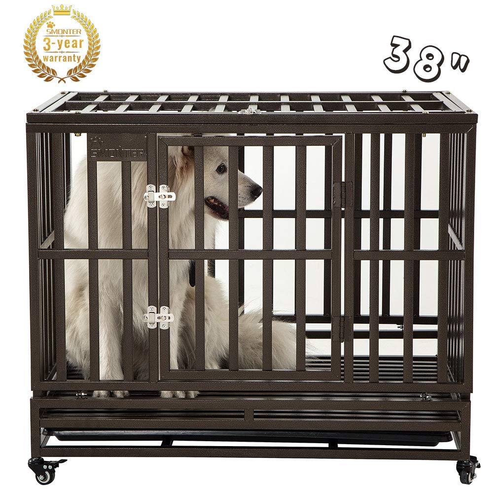 SMONTER 38'' Heavy Duty Strong Metal Dog Cage Pet Kennel Crate Playpen with Wheels, I Shape, Brown ... by SMONTER