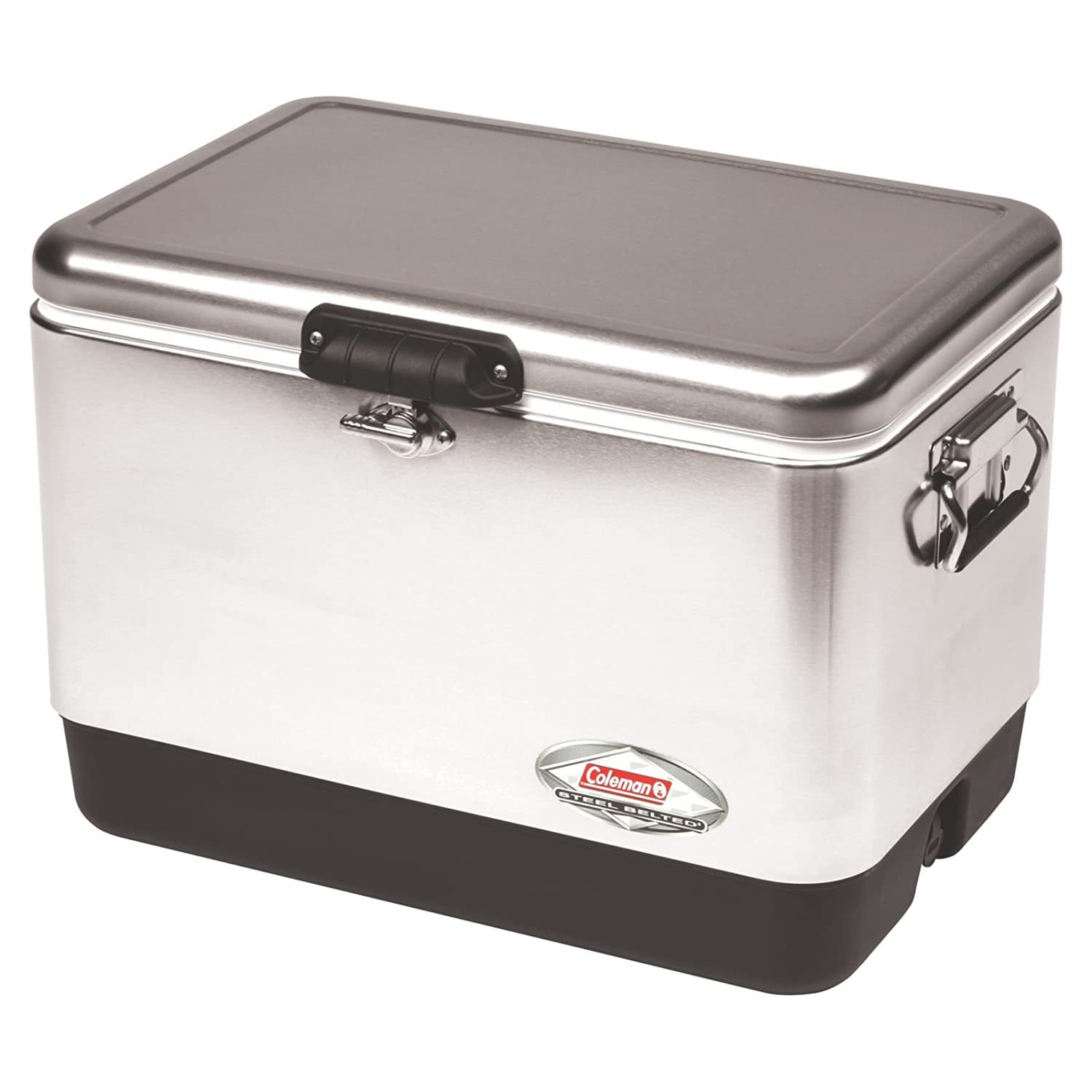 Amazon com coleman steel belted portable cooler 54 quart cooler coleman metal sports outdoors