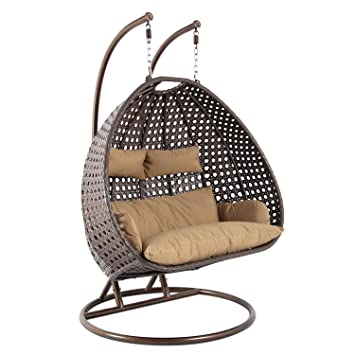 2 Person Outdoor Patio Hanging Swing Chair, Brown Rattan Wicker