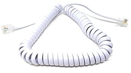 5m Metre Telephone Handset Coiled RJ10 Plug to RJ10 Plug Cable Curly Lead White