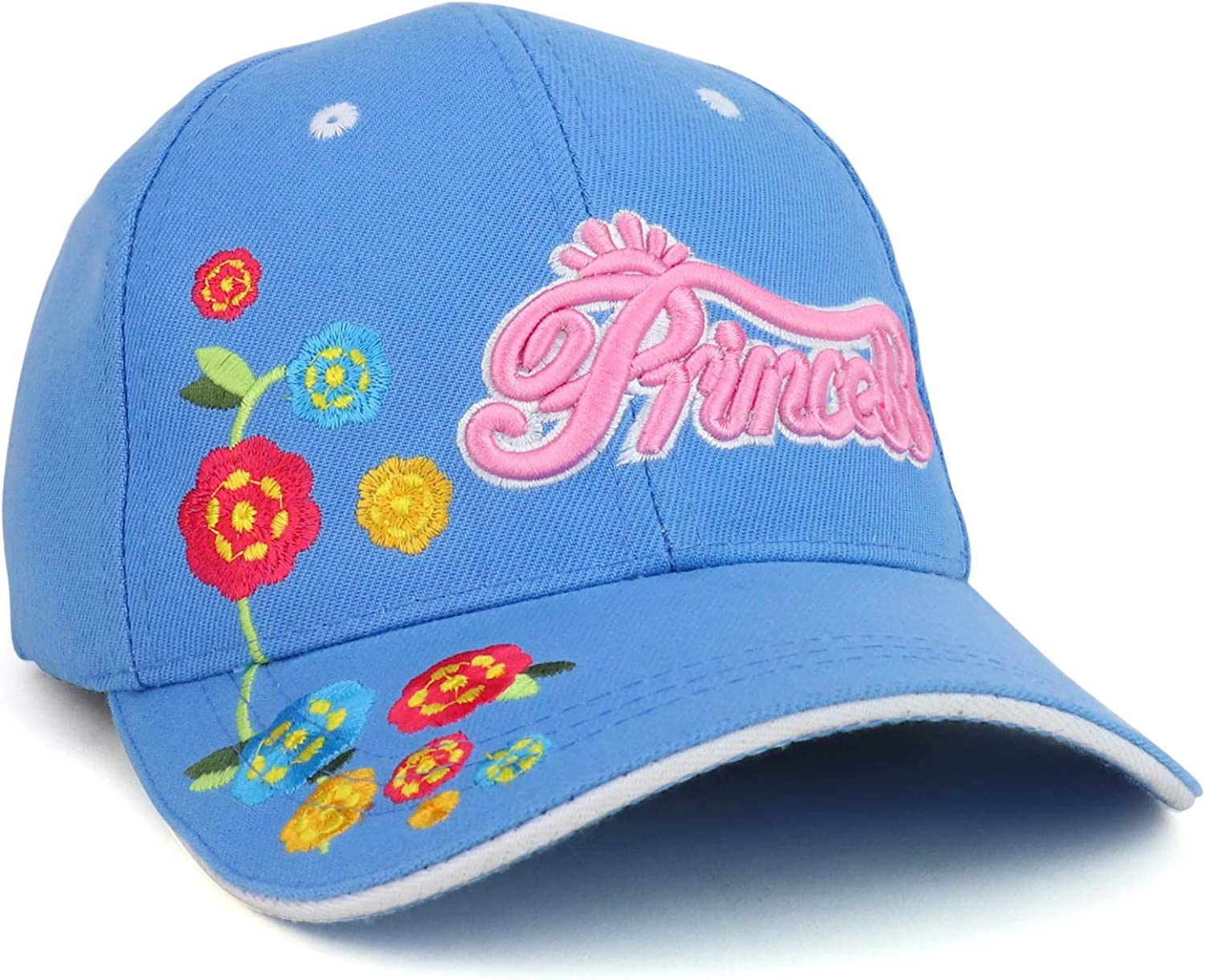 Trendy Apparel Shop Youth Size Girls Princess Flower Embroidered Structured Baseball Cap
