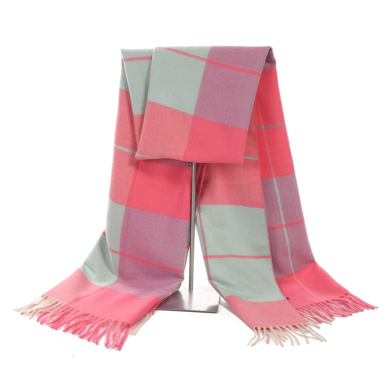 LERDU Women's Cashmere Pink Blue Tartan Shawl Wraps Gift Box Wrapped Large Winter Pashmina Stole Scarf for Ladies
