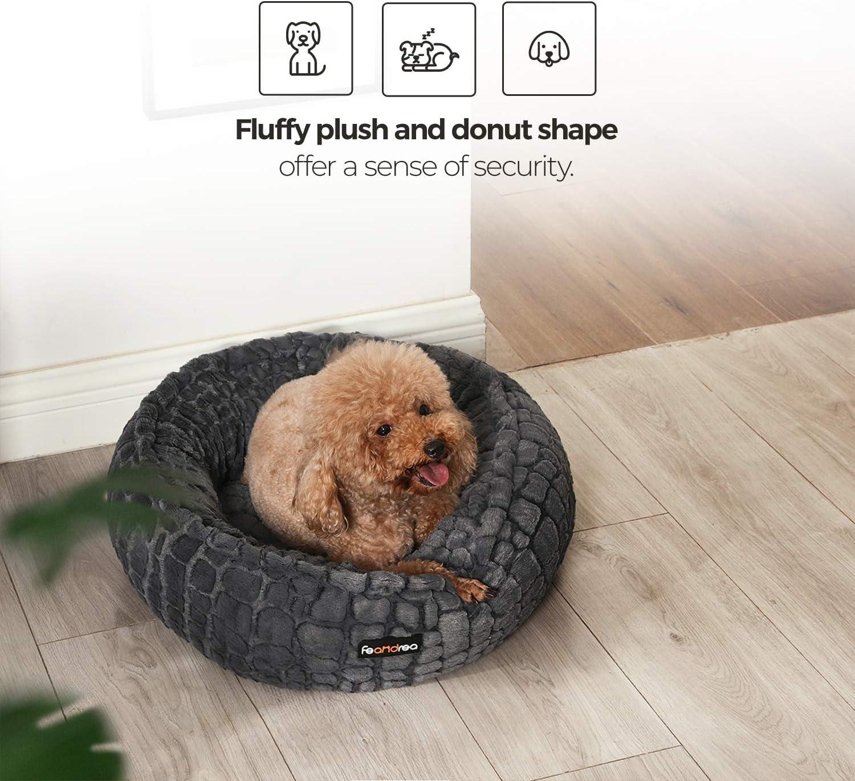Anti-Slip Bottom Washable Plush Round FEANDREA Dog Bed Pet Bed