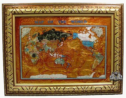 "Unique Art 26/"" Cross Amber Pearl Swirl Ocean Gemstone World map with Frame"