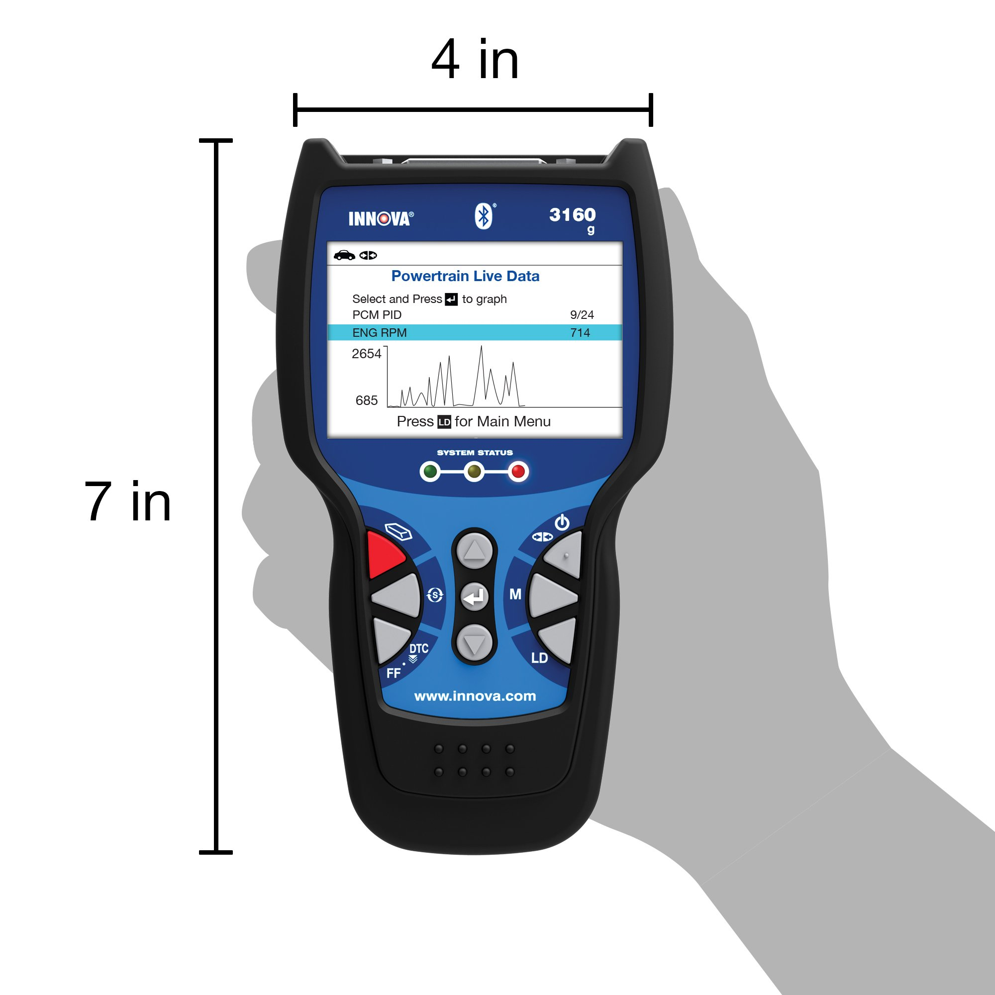 Innova Color Screen with Bluetooth 3160g Code Reader/Scan Tool with ABS, SRS, and Live Data for OBD2 Vehicles by Innova (Image #4)