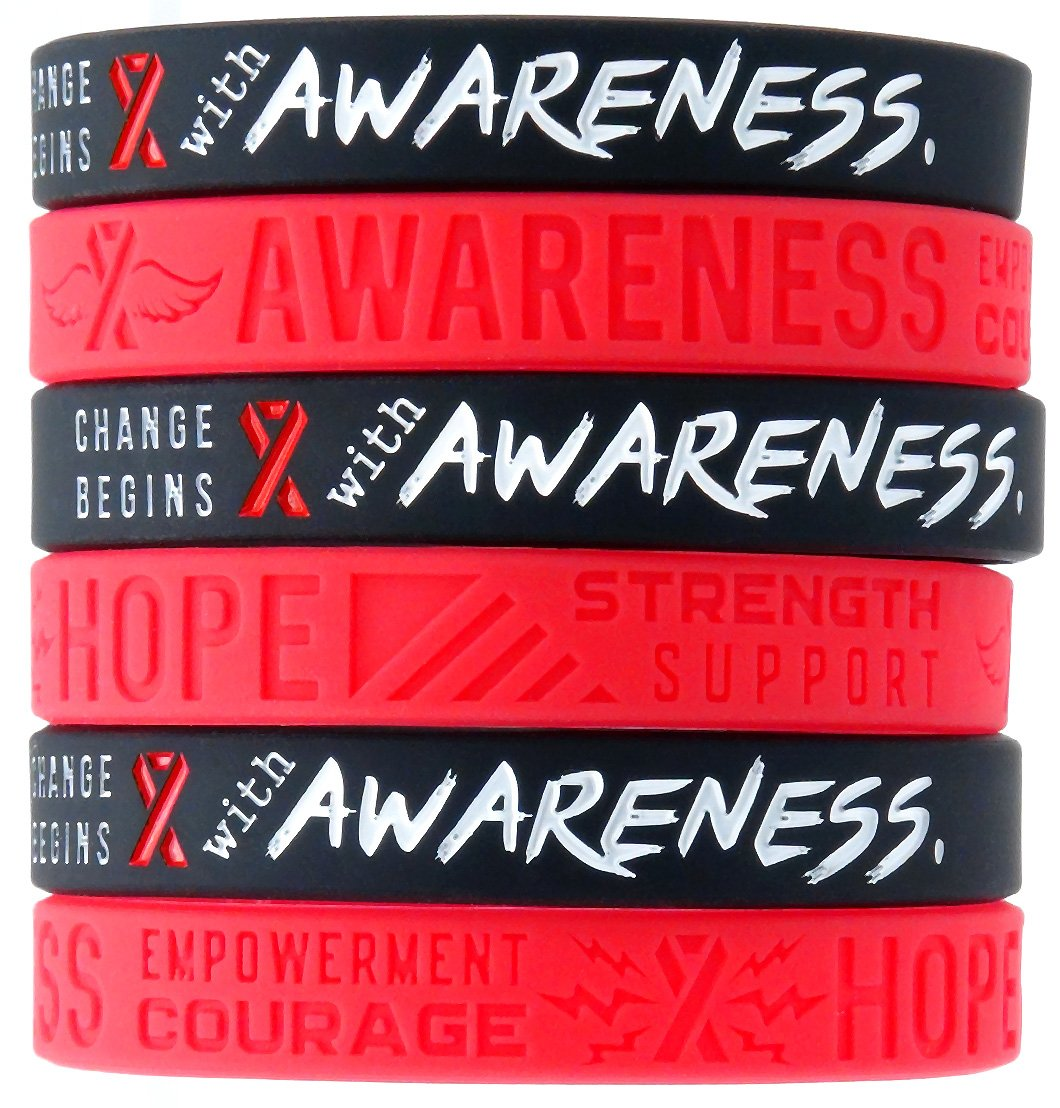 (12-pack) Red Awareness Ribbon Silicone Wristbands - Wholesale Pack of 1 Dozen Support Bracelets for Unisex Adults