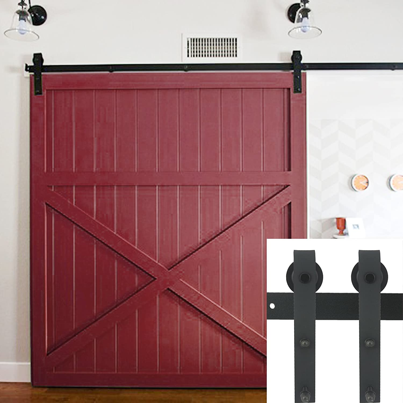 ediors 6.6 ft Negro País acero envejecido interior puerta corrediza de granero madera Hardware armario de pista Set: Amazon.es: Bricolaje y herramientas