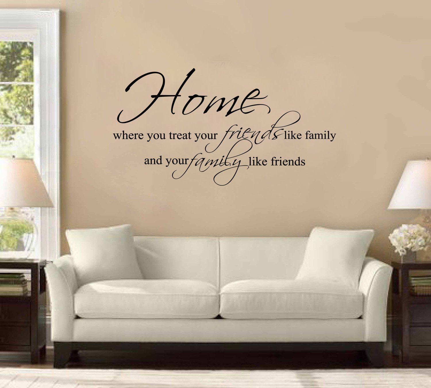 42 home is where you treat friends like family and family like 42 home is where you treat friends like family and family like friends large wall decal sticker quote home decoration decor other products amazon amipublicfo Choice Image