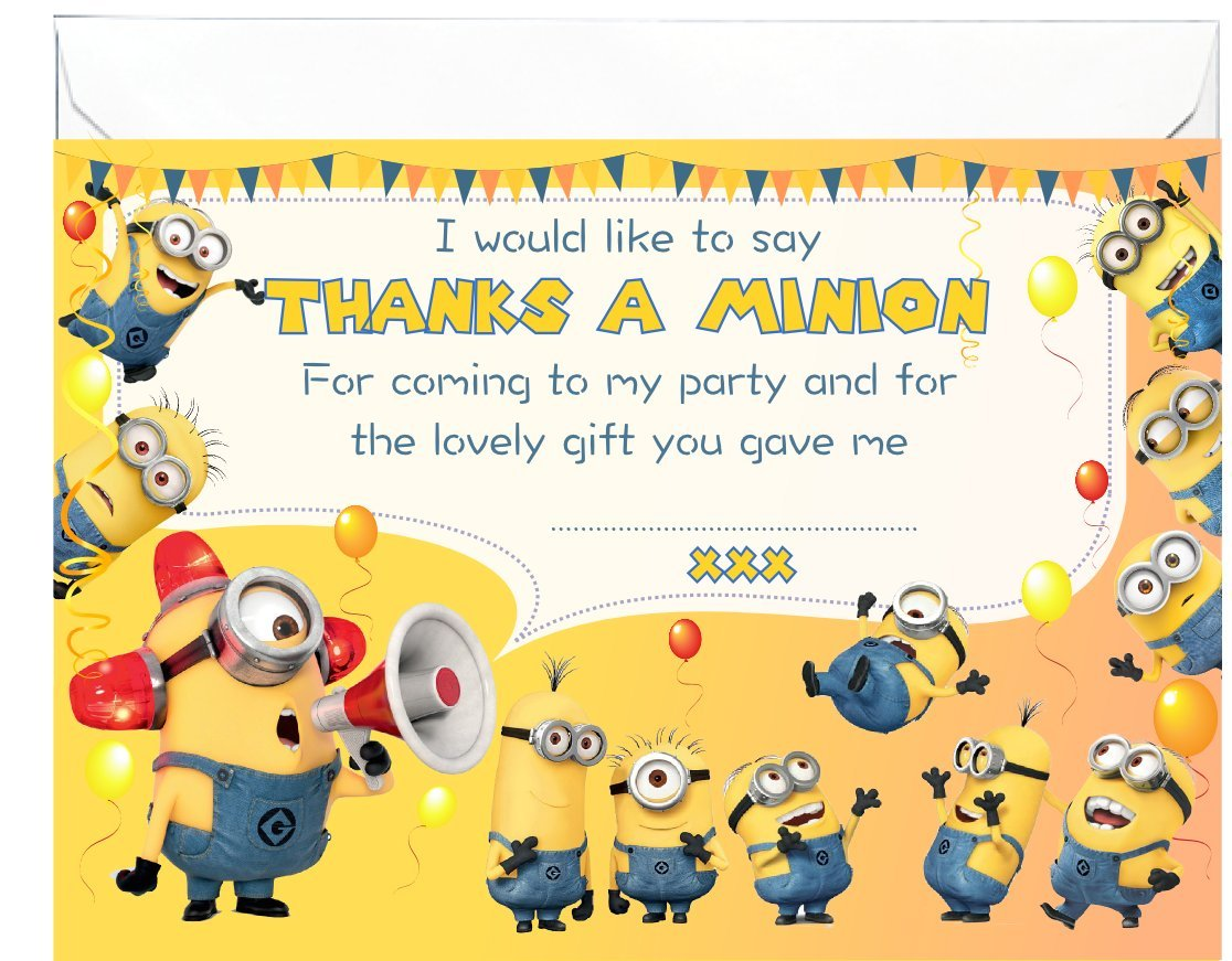 20 x glossy thank you cards inspired by minions from despicable me 20 x glossy thank you cards inspired by minions from despicable me with envelopes birthday notes amazon office products thecheapjerseys Images
