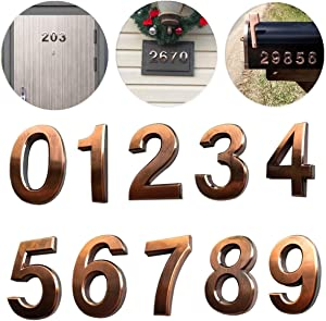 "10 Pack Door Numbers 0-9, 2-3/4"" House Address Number Stickers for Mailbox/Apartment/Floor, Classical Effect, Bronze Brushed, by Hopewan (2.75"" 10 Pack (0-9), Bronze)"