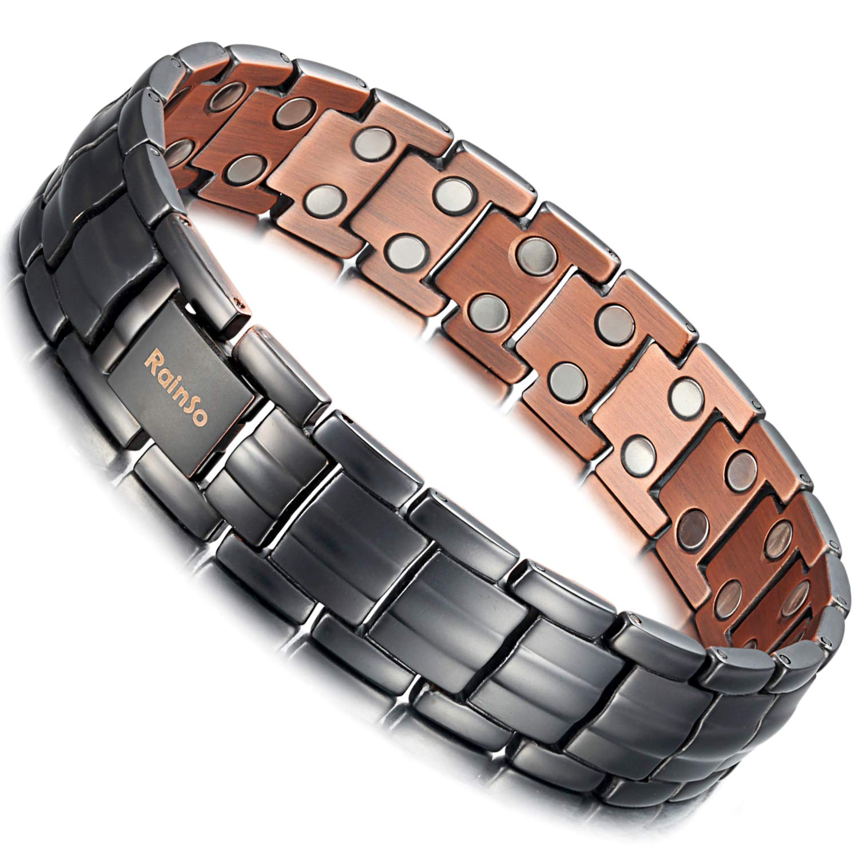 Rainso Mens Matt Gun Black Copper Double Row Magnetic Therapy Bracelets Arthritis Wristband Adjustable OCB-1537GUN-US