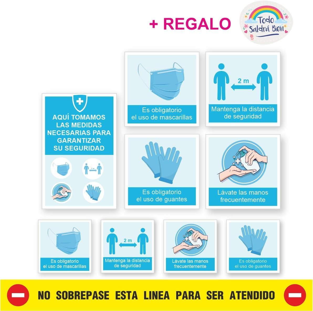 KIT 9 PEGATINAS MEDIDAS SEGURIDAD EMPRESA, super resistentes, lavables, vinilos medidas de seguridad empresa, con Lamina de Protección acabado mate.