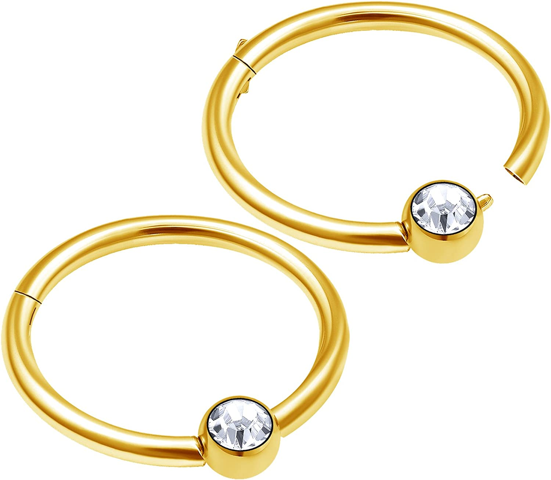 bodyjewellery 2pcs 16g Captive Ball clicker Lip Anodized Helix Rook Nose Earring Eyebrow Hoop Forward Tragus Septum Cartilage D4QCK
