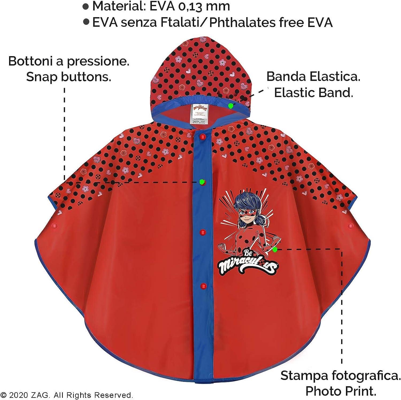 PERLETTI Poncho Impermeable Miraculous Ladybug Material EVA Rojo y Negro con Capucha y Botones Chubasquero de Lluvia Ni/ña Estampado Lady Bug y Lunares
