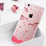 Cover in silicone per iPhone 7 Plus, glitter con strass, trasparente, slim, motivo decorativo: amore, cuore, colore: rosa+ 1 x pennino