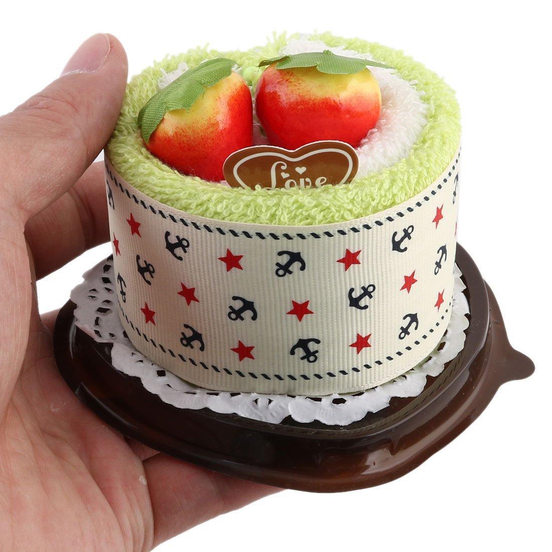 Amazon.com: eDealMax microfibra en Forma de corazón boda simulada fresa Decoración Torta de la toalla toallita Verde Amarillo: Home & Kitchen