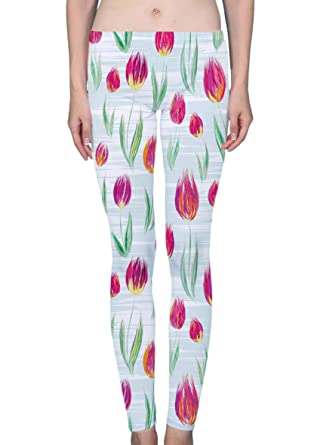 a022a11967734 Oil Painted Rose Tulip Flowers Women's Printed Leggings Soft Stretchy  Workout Yoga Pants Fashion Sports Pants