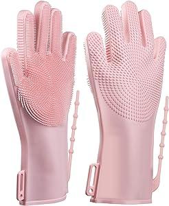 Dishwashing Gloves,Cleaning Gloves Reusable,Rubber Gloves for Cleaning,Non-Slip Dish Gloves Kitchen,Silicone Scrubbing Gloves for Cleaning The Home,Veggie wash,Pet Hair,Car Wash,Oven Mitt(Pink)