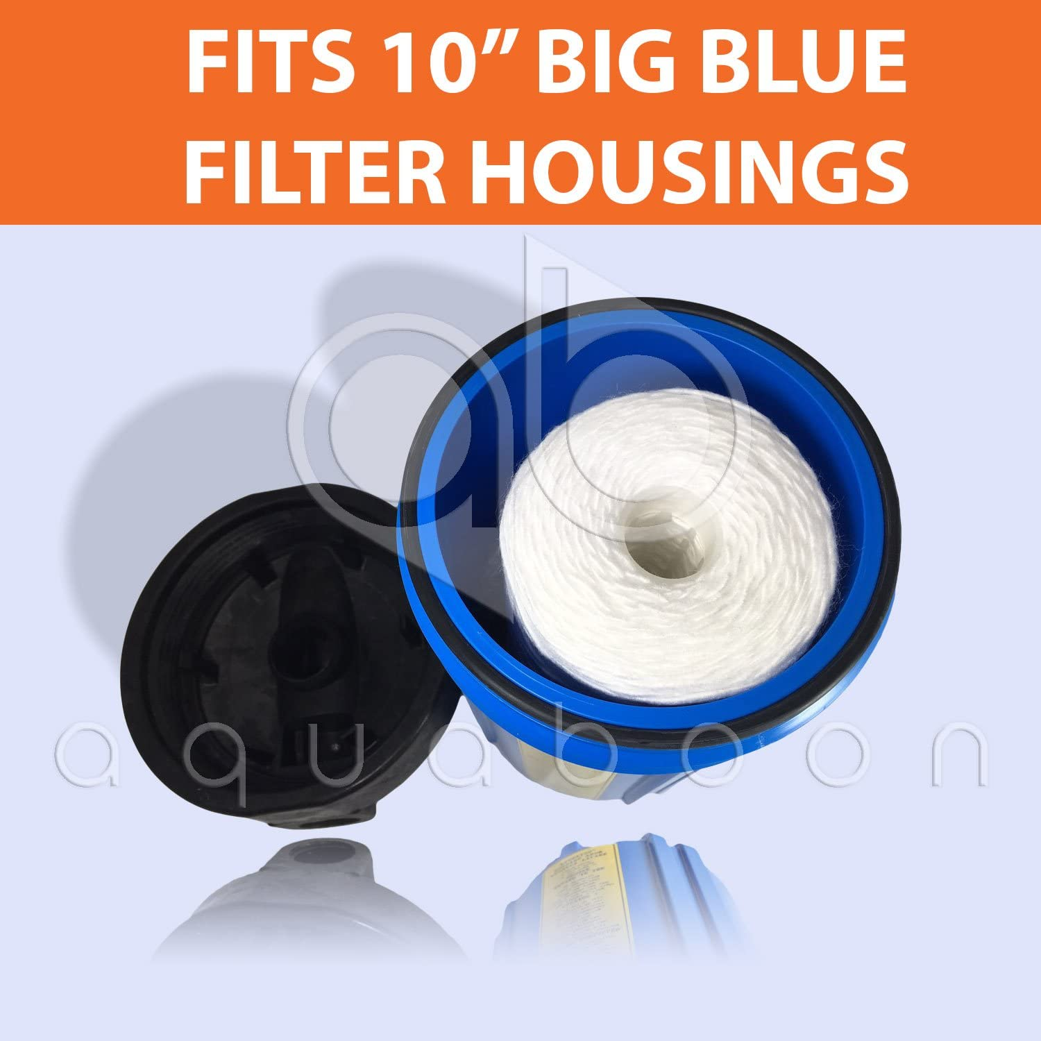 Whole House Sediment Filtration 355215-45 Aquaboon 5 Micron 10 Big Blue String Wound Sediment Water Filter Cartridge 355214-45 WPX5BB97P WP10BB97P WP5BB97P 10-Pack Compatible with 84637 PC10