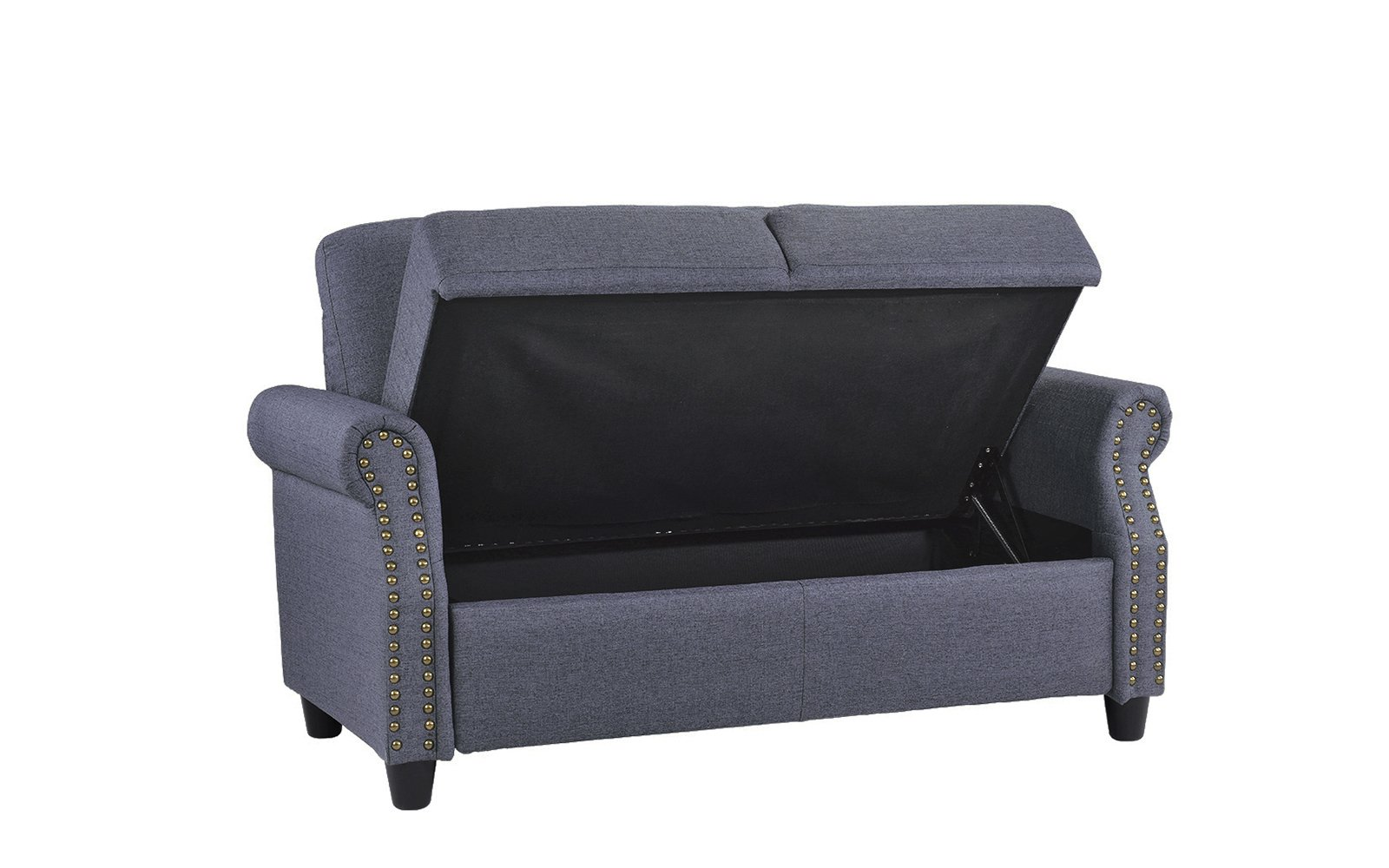 Classic Living Room Linen Loveseat with Nailhead Trim and Storage Space (Blue) by Sofamania (Image #5)